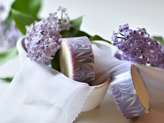 Rimmed Lilac Soap