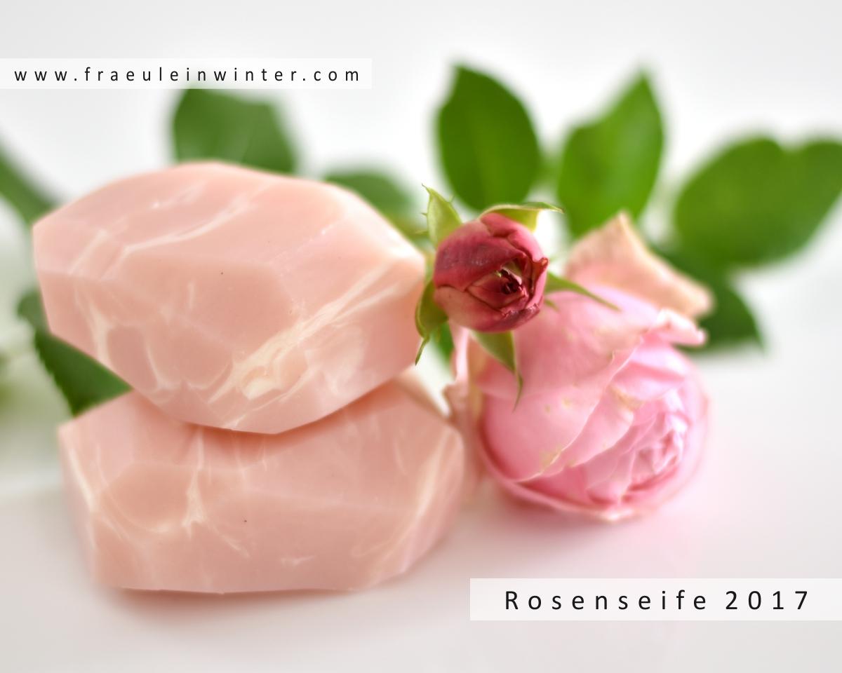 Handgemachte Rosenseife in Rosenquarz-Optik